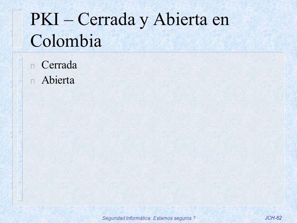 PKI – Cerrada y Abierta en Colombia
