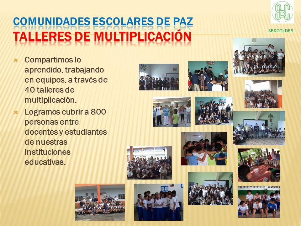COMUNIDADES ESCOLARES DE PAZ Talleres de multiplicación
