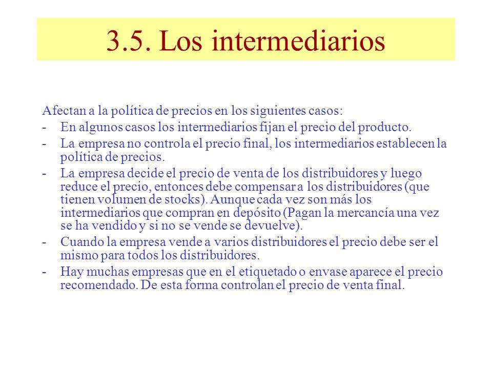 3.5. Los intermediarios Afectan a la política de precios en los siguientes casos: En algunos casos los intermediarios fijan el precio del producto.
