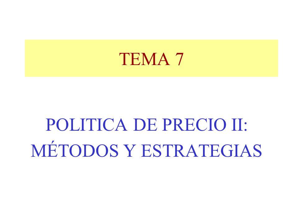 POLITICA DE PRECIO II: MÉTODOS Y ESTRATEGIAS