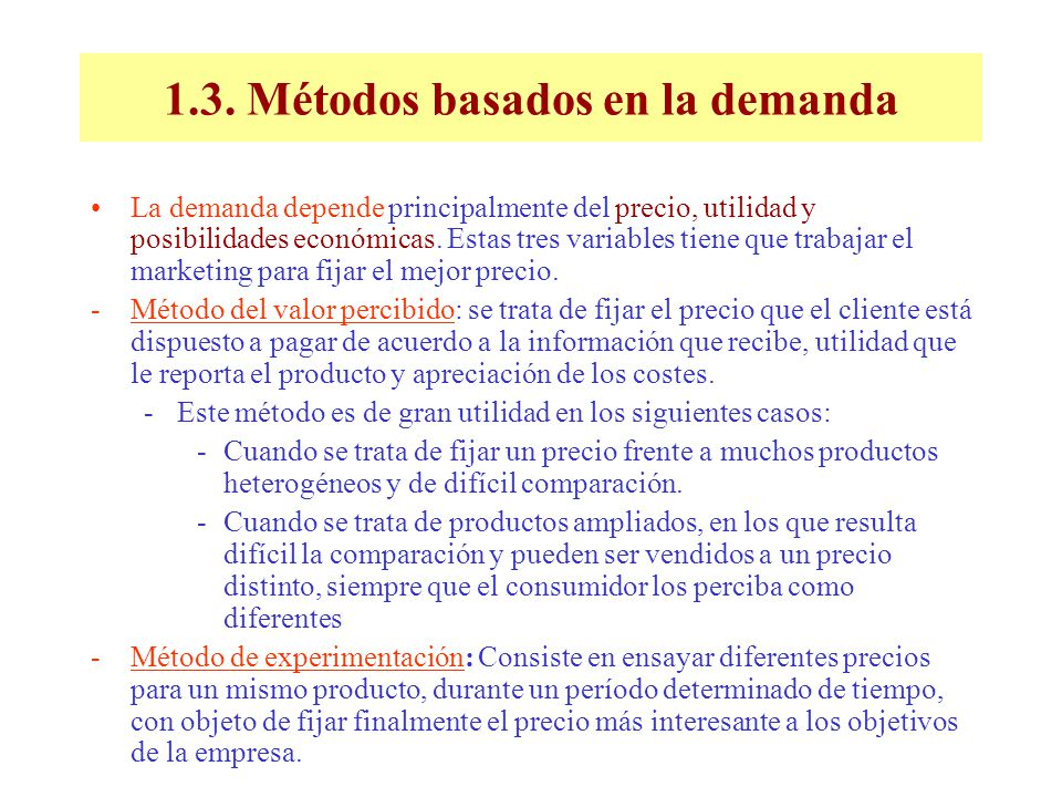 1.3. Métodos basados en la demanda