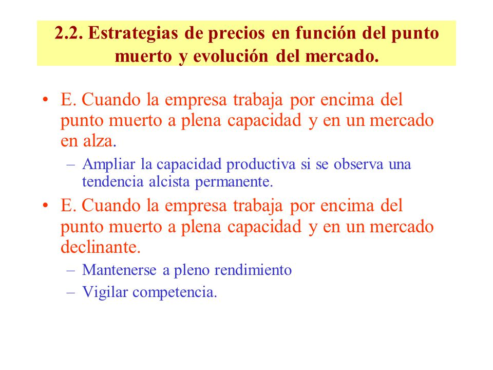 2.2. Estrategias de precios en función del punto muerto y evolución del mercado.