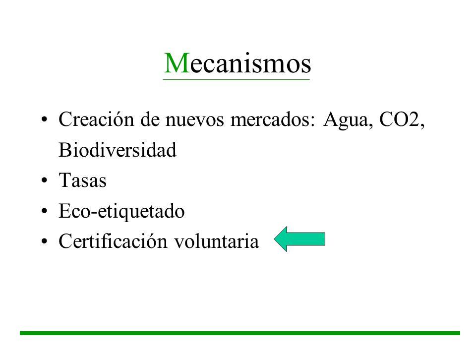 Mecanismos Creación de nuevos mercados: Agua, CO2, Biodiversidad Tasas