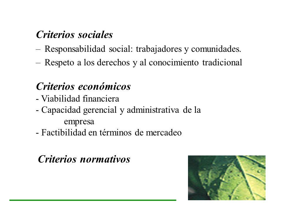 Criterios sociales Criterios económicos Criterios normativos