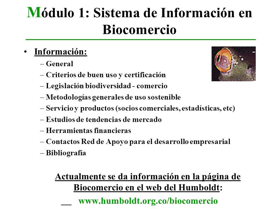Módulo 1: Sistema de Información en Biocomercio