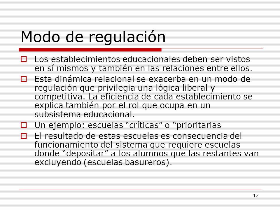 Modo de regulación Los establecimientos educacionales deben ser vistos en sí mismos y también en las relaciones entre ellos.