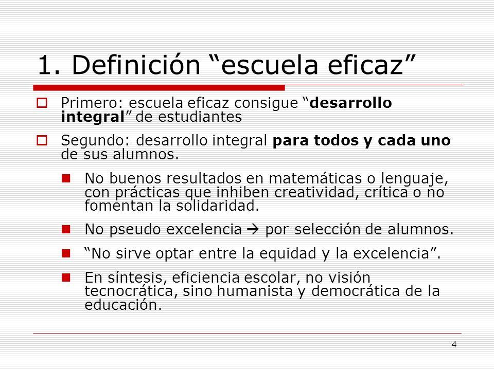 1. Definición escuela eficaz
