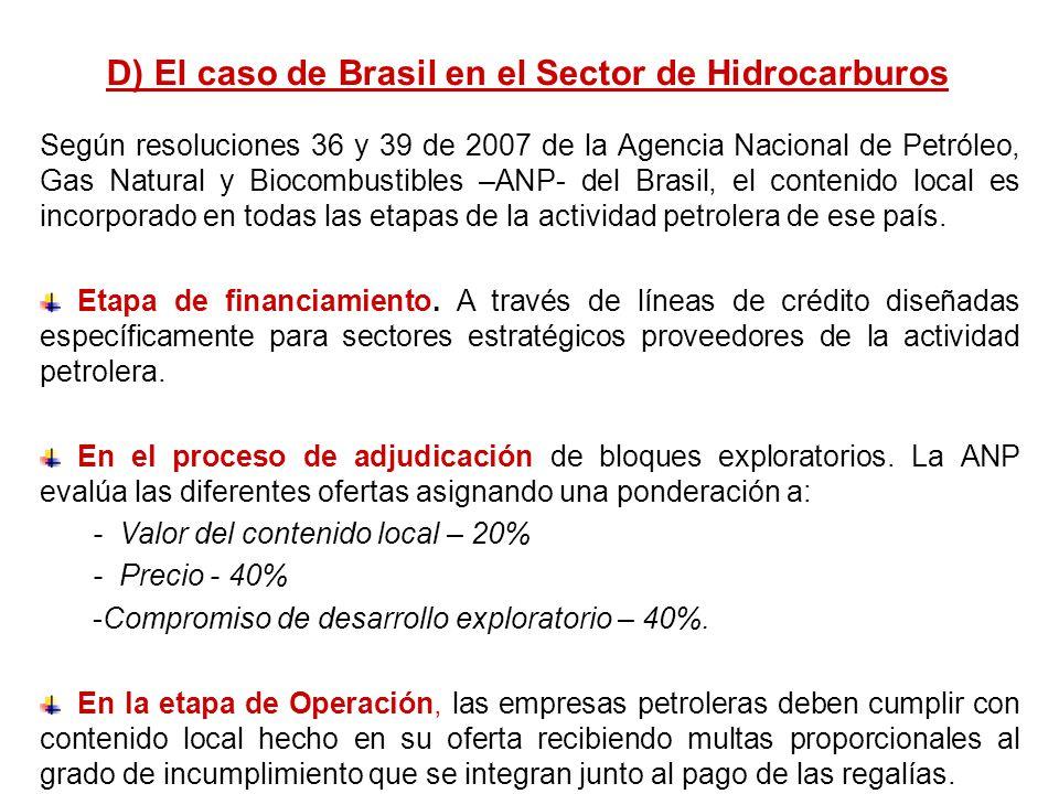 D) El caso de Brasil en el Sector de Hidrocarburos