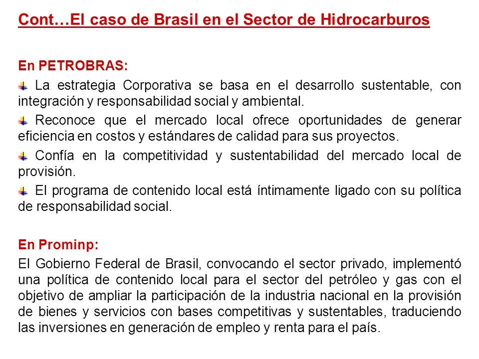 Cont…El caso de Brasil en el Sector de Hidrocarburos