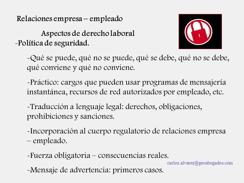 Relaciones empresa – empleado Aspectos de derecho laboral