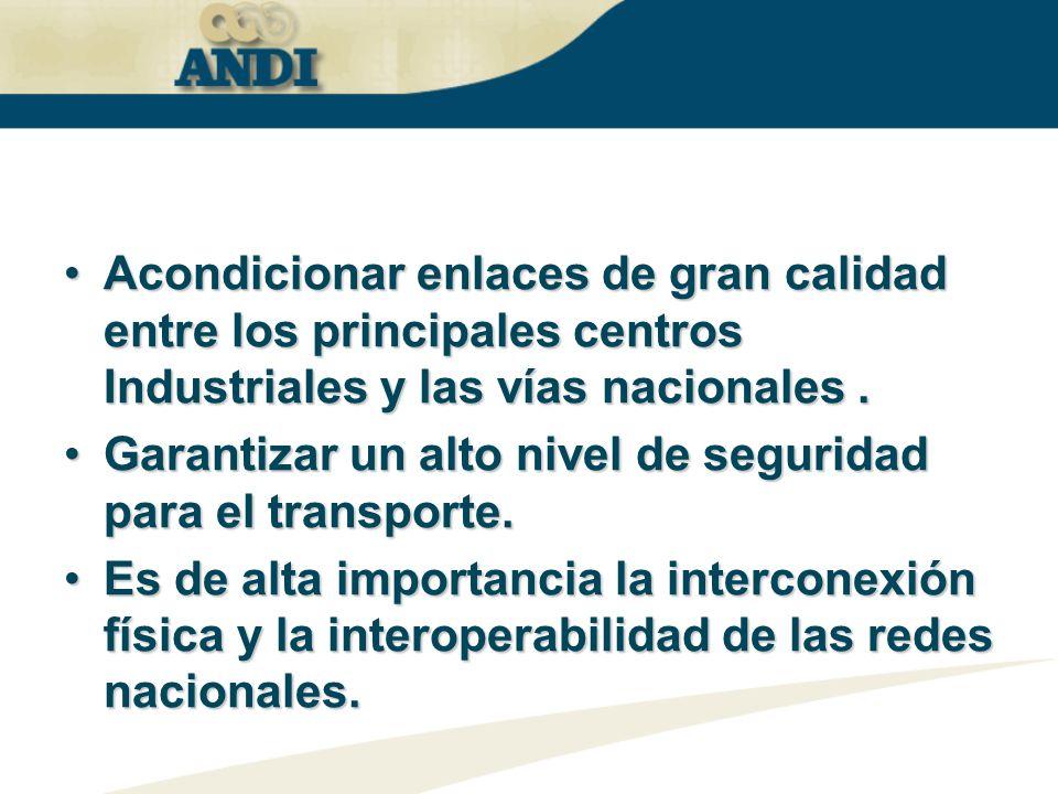 Acondicionar enlaces de gran calidad entre los principales centros Industriales y las vías nacionales .
