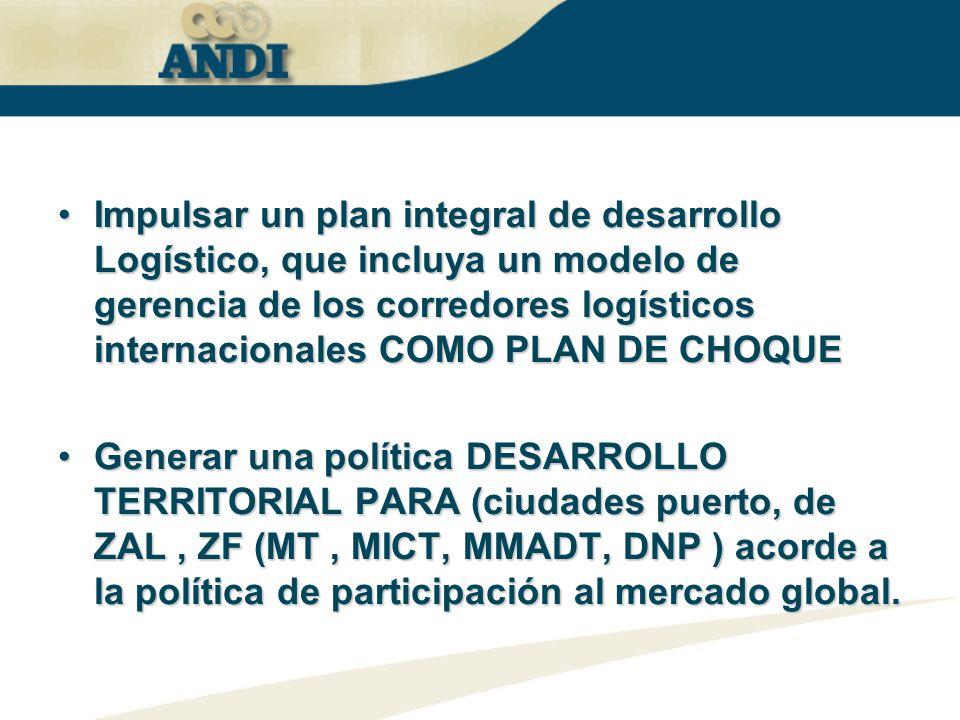 Impulsar un plan integral de desarrollo Logístico, que incluya un modelo de gerencia de los corredores logísticos internacionales COMO PLAN DE CHOQUE