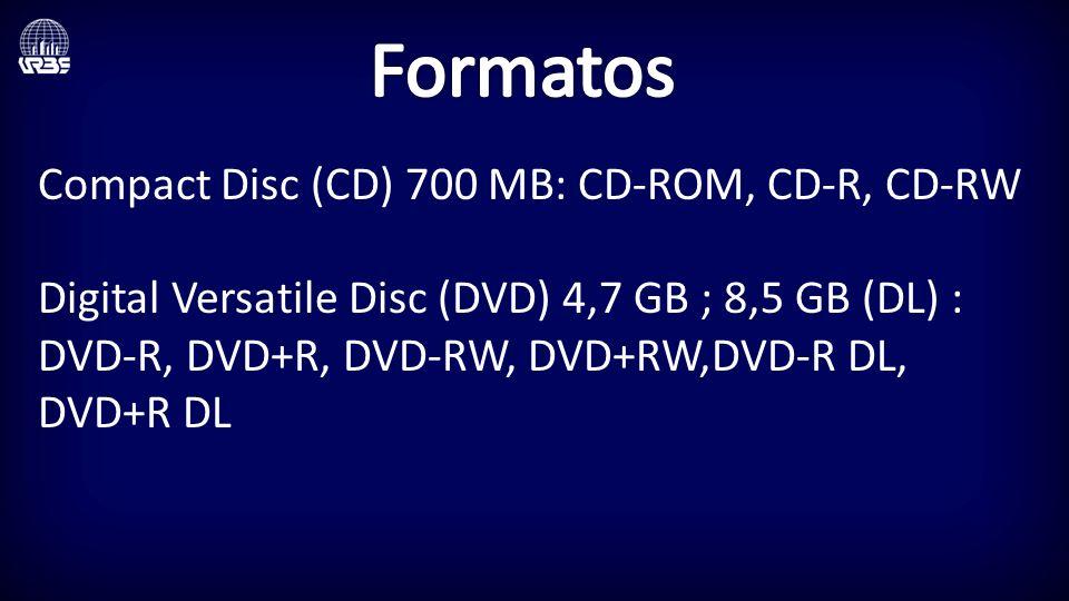 Formatos Compact Disc (CD) 700 MB: CD-ROM, CD-R, CD-RW