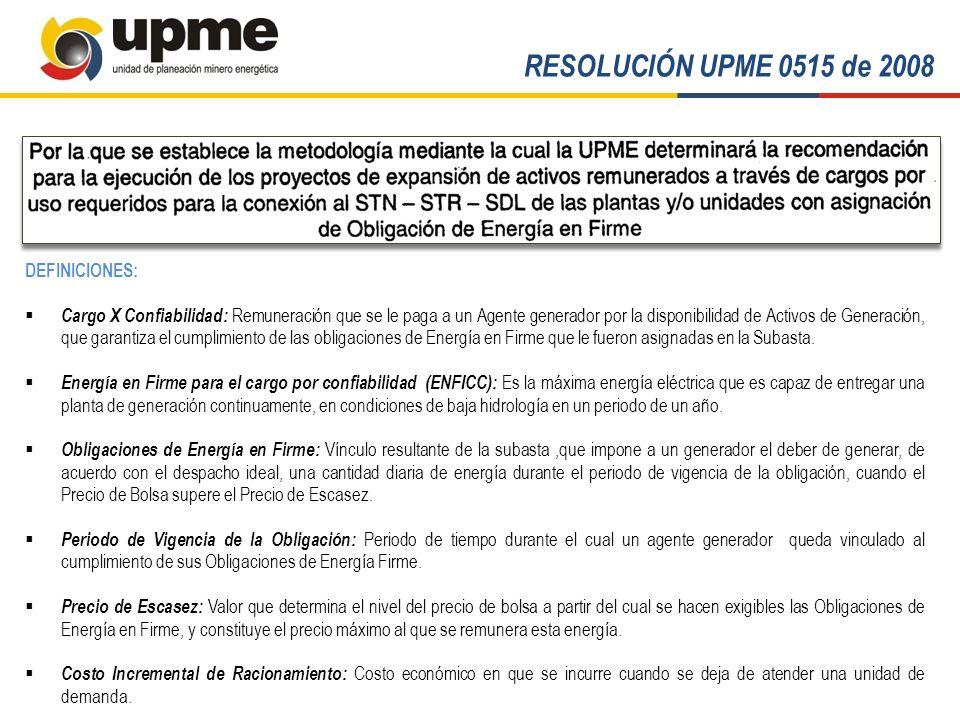 RESOLUCIÓN UPME 0515 de 2008 DEFINICIONES: