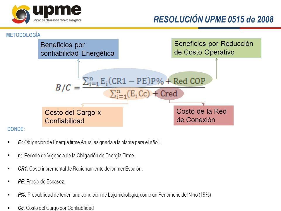 RESOLUCIÓN UPME 0515 de 2008 METODOLOGÍA. Beneficios por confiabilidad Energética. Beneficios por Reducción de Costo Operativo.