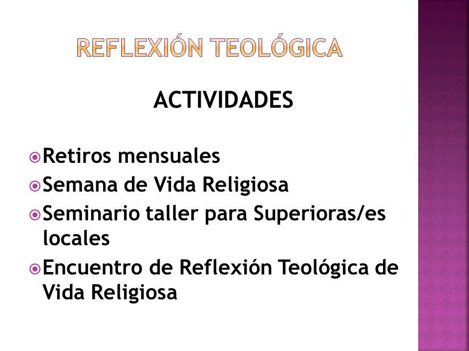 REFLEXIÓN TEOLÓGICA ACTIVIDADES Retiros mensuales