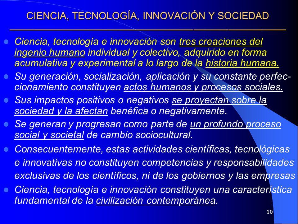 CIENCIA, TECNOLOGÍA, INNOVACIÓN Y SOCIEDAD ————————————————————————