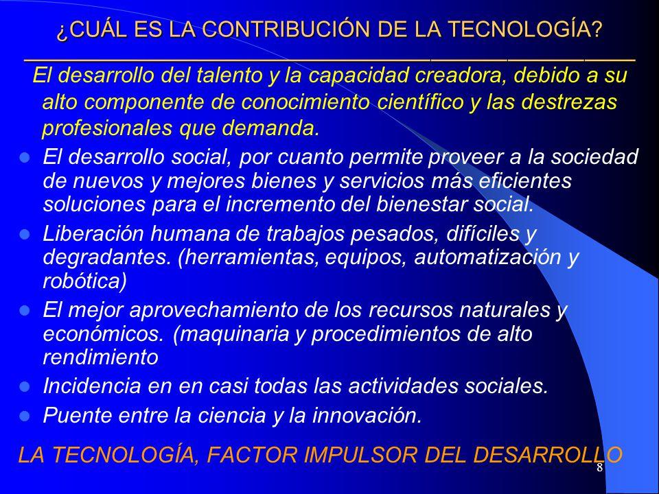 ¿CUÁL ES LA CONTRIBUCIÓN DE LA TECNOLOGÍA ————————————————————————