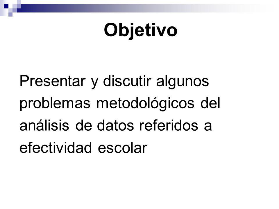 Objetivo Presentar y discutir algunos problemas metodológicos del