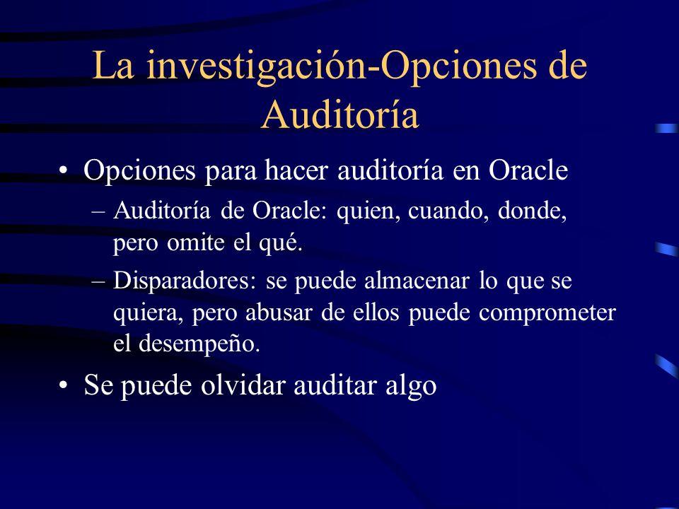 La investigación-Opciones de Auditoría