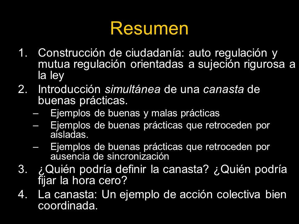 Resumen Construcción de ciudadanía: auto regulación y mutua regulación orientadas a sujeción rigurosa a la ley.
