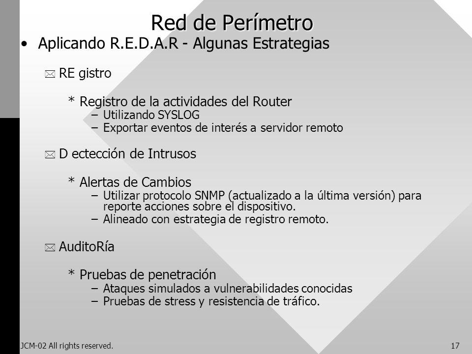 Red de Perímetro Aplicando R.E.D.A.R - Algunas Estrategias RE gistro