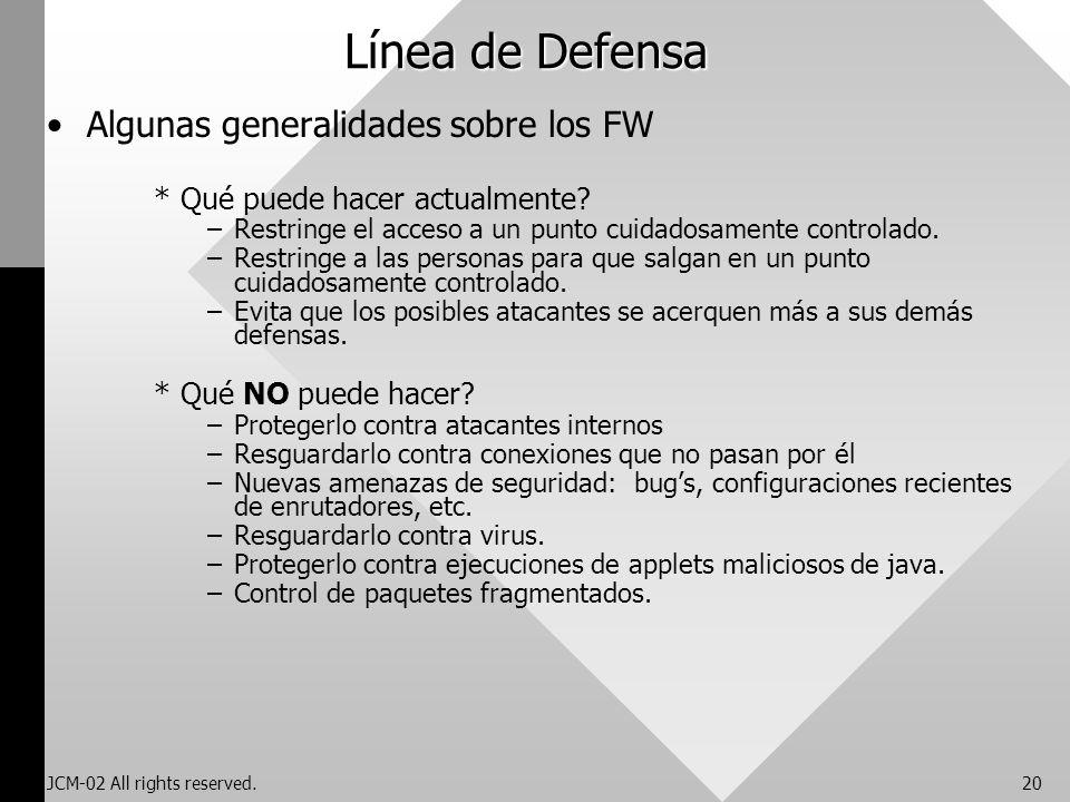 Línea de Defensa Algunas generalidades sobre los FW