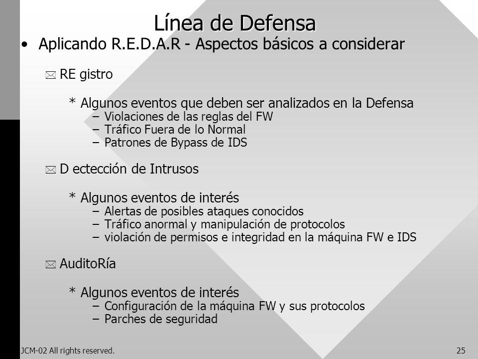Línea de Defensa Aplicando R.E.D.A.R - Aspectos básicos a considerar