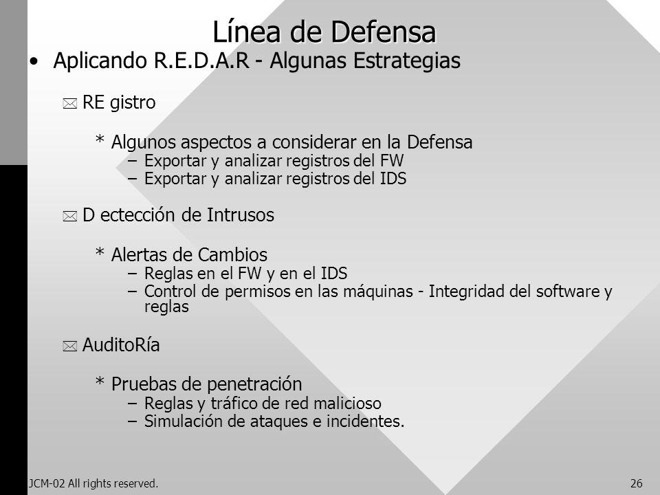 Línea de Defensa Aplicando R.E.D.A.R - Algunas Estrategias RE gistro