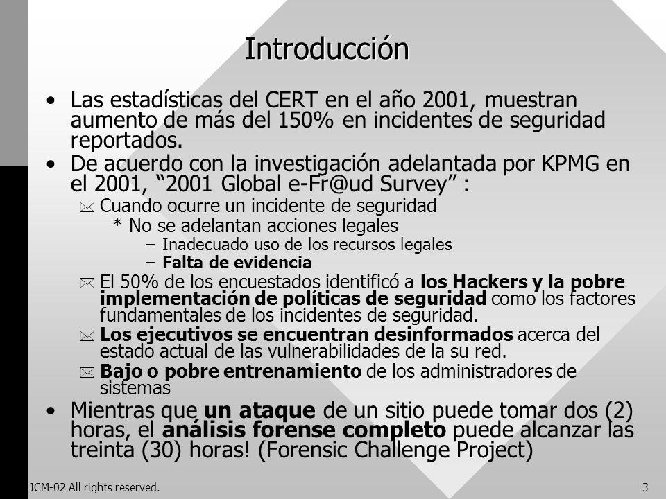 Introducción Las estadísticas del CERT en el año 2001, muestran aumento de más del 150% en incidentes de seguridad reportados.