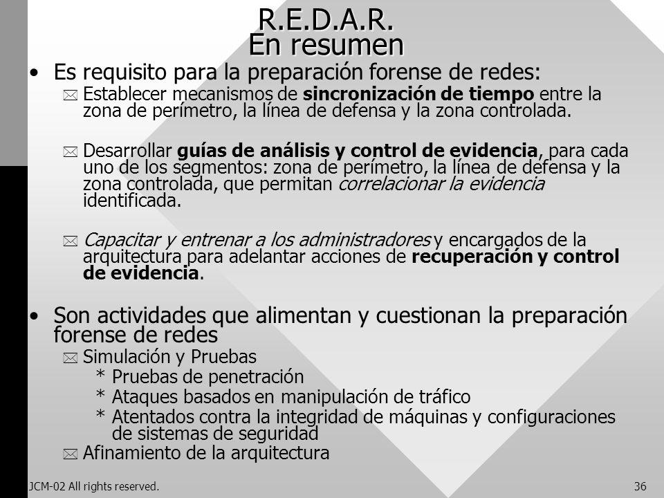 R.E.D.A.R. En resumen Es requisito para la preparación forense de redes: