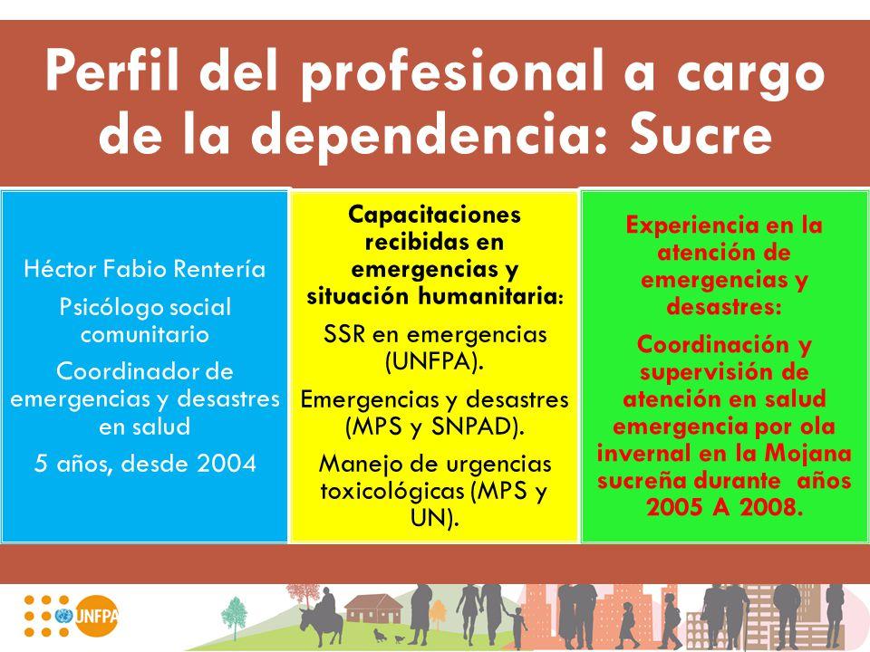 Perfil del profesional a cargo de la dependencia: Sucre