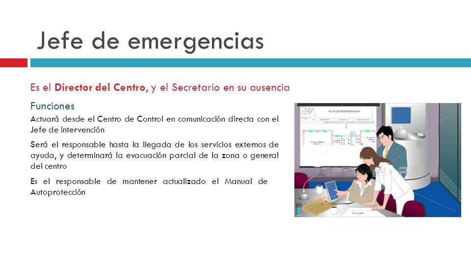 Jefe de emergencias Es el Director del Centro, y el Secretario en su ausencia. Funciones.