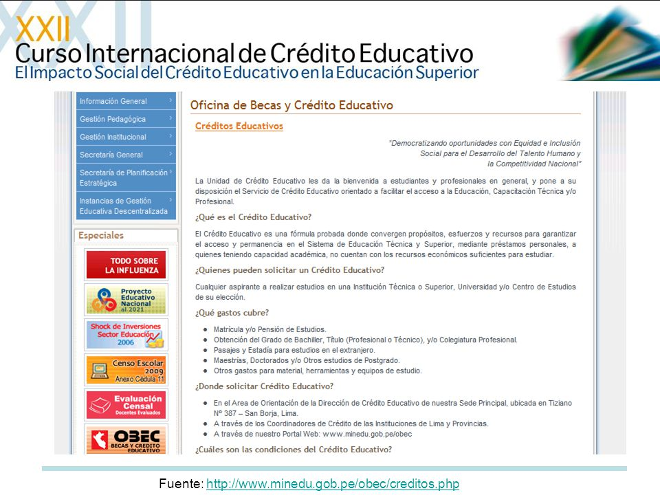 Fuente: http://www.minedu.gob.pe/obec/creditos.php