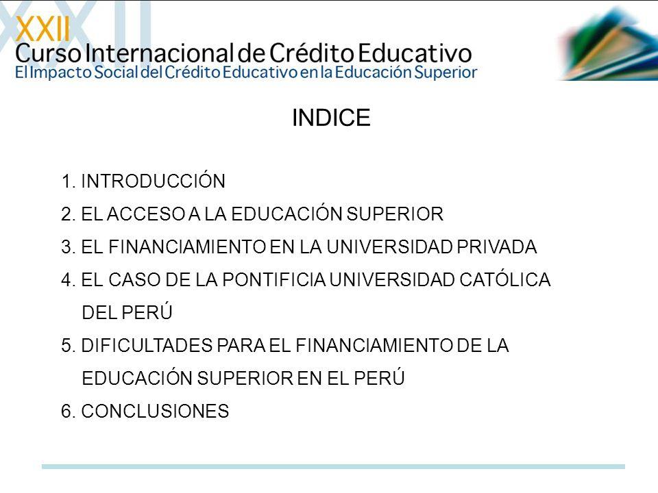 INDICE 1. INTRODUCCIÓN 2. EL ACCESO A LA EDUCACIÓN SUPERIOR