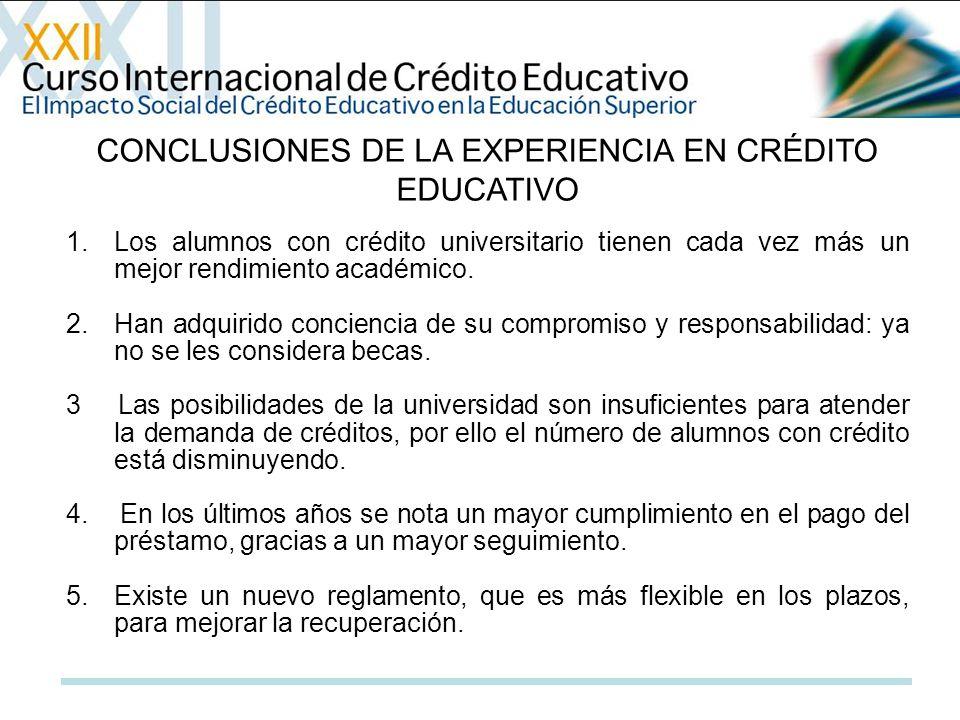 CONCLUSIONES DE LA EXPERIENCIA EN CRÉDITO EDUCATIVO