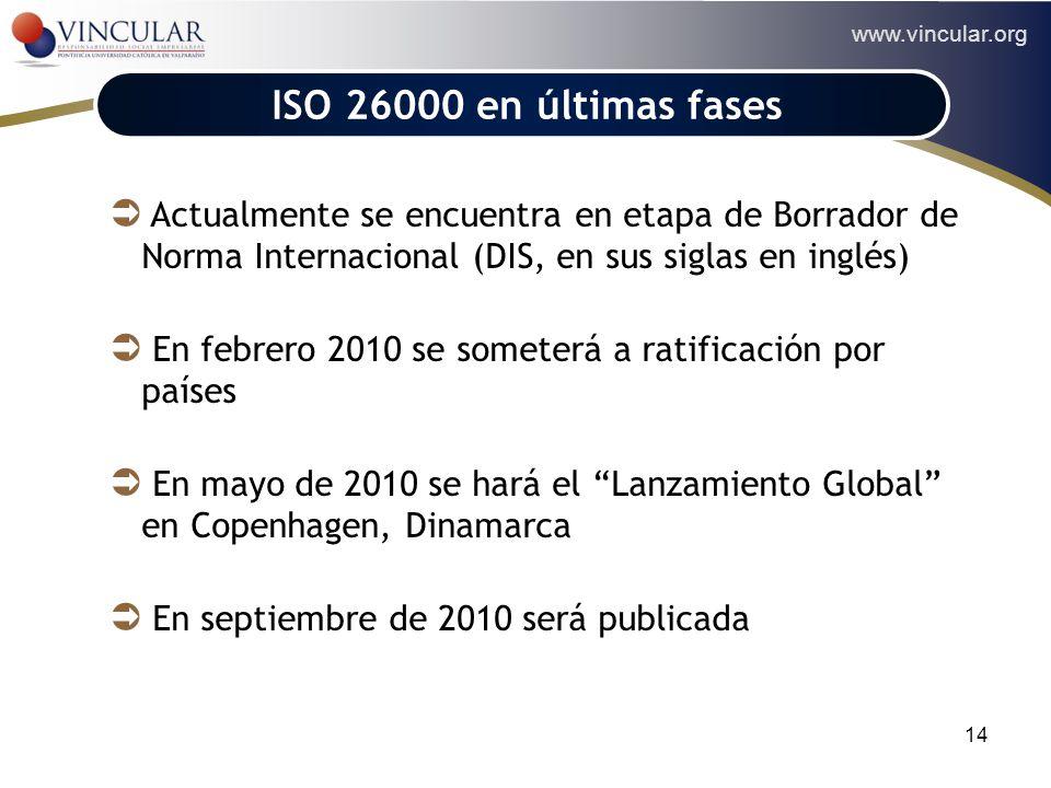 ISO 26000 en últimas fases Actualmente se encuentra en etapa de Borrador de Norma Internacional (DIS, en sus siglas en inglés)