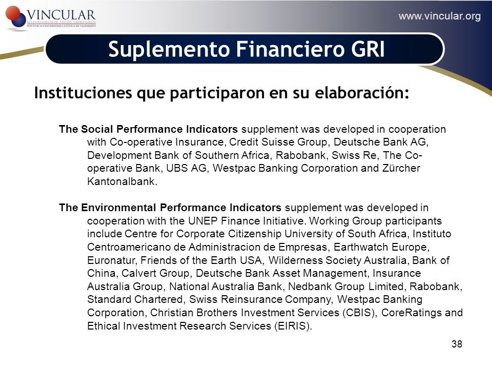 Suplemento Financiero GRI