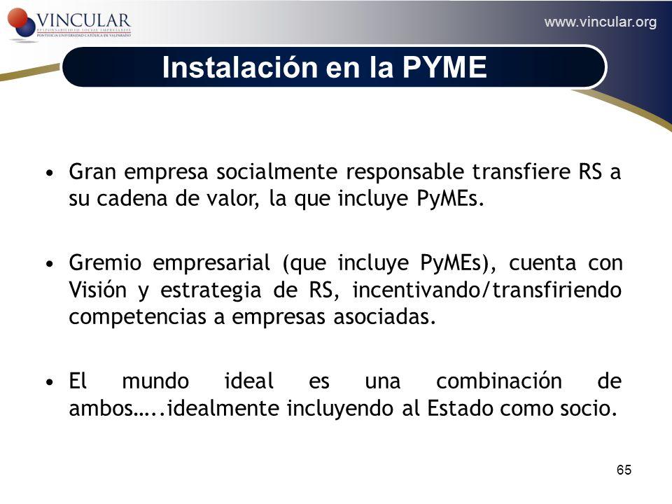 Instalación en la PYME Gran empresa socialmente responsable transfiere RS a su cadena de valor, la que incluye PyMEs.