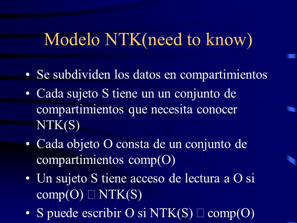 Modelo NTK(need to know)