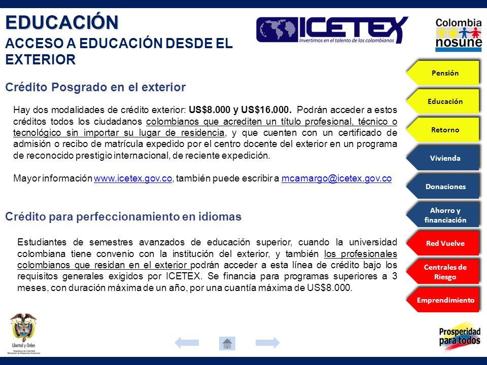 EDUCACIÓN ACCESO A EDUCACIÓN DESDE EL EXTERIOR