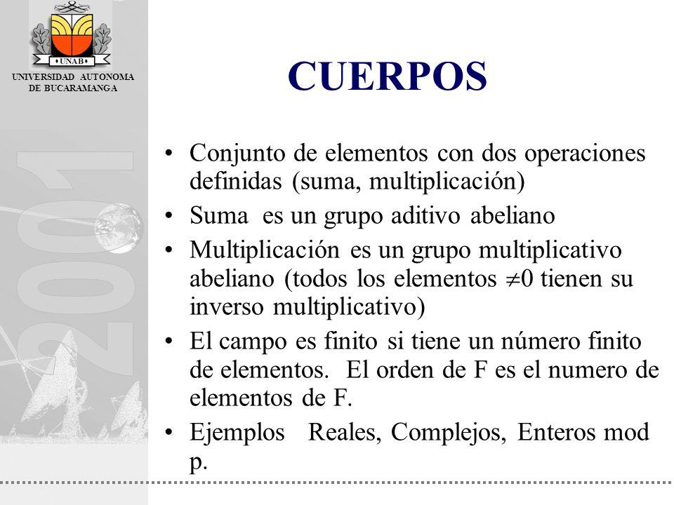CUERPOS Conjunto de elementos con dos operaciones definidas (suma, multiplicación) Suma es un grupo aditivo abeliano.