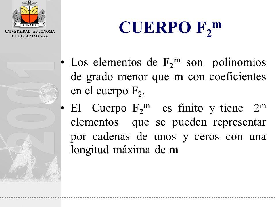 CUERPO F2m Los elementos de F2m son polinomios de grado menor que m con coeficientes en el cuerpo F2.