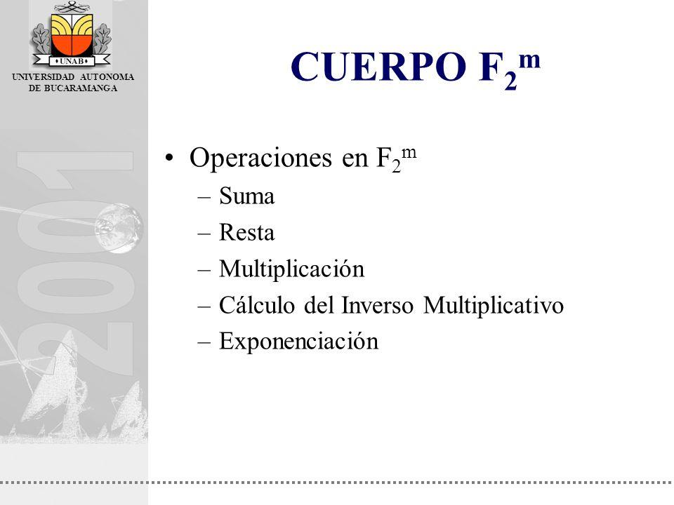 CUERPO F2m Operaciones en F2m Suma Resta Multiplicación