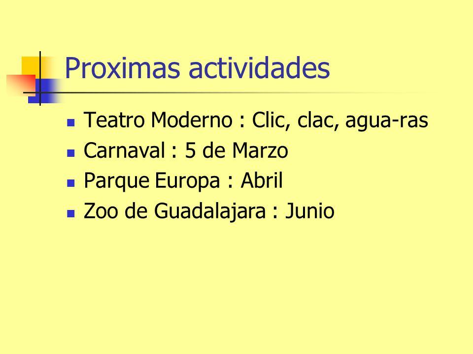 Proximas actividades Teatro Moderno : Clic, clac, agua-ras