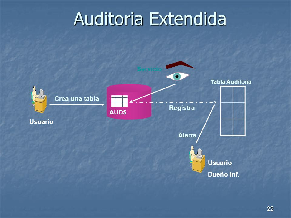 Auditoria Extendida Servicio Crea una tabla Registra AUD$ Usuario