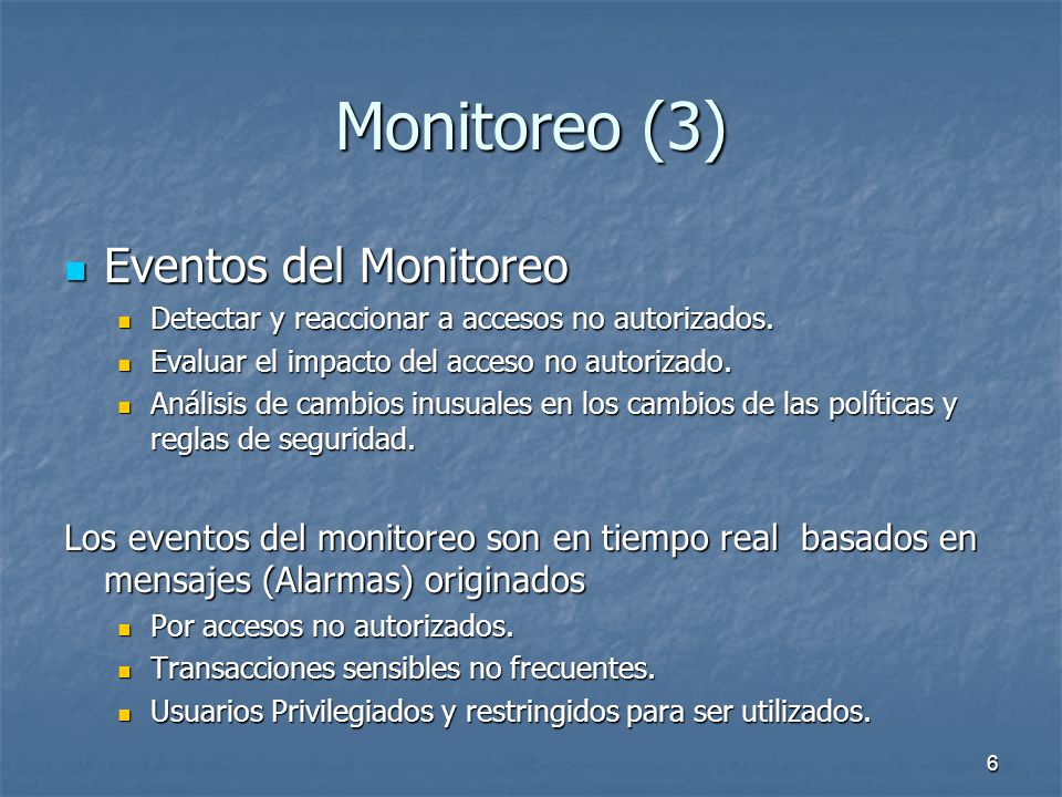 Monitoreo (3) Eventos del Monitoreo