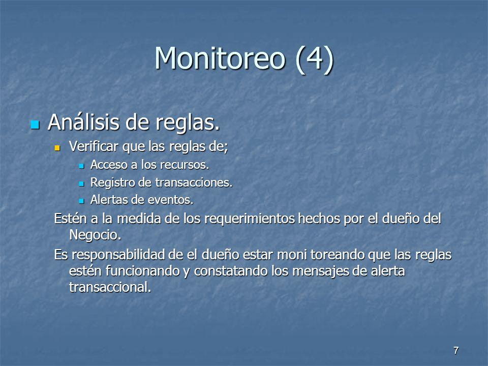 Monitoreo (4) Análisis de reglas. Verificar que las reglas de;