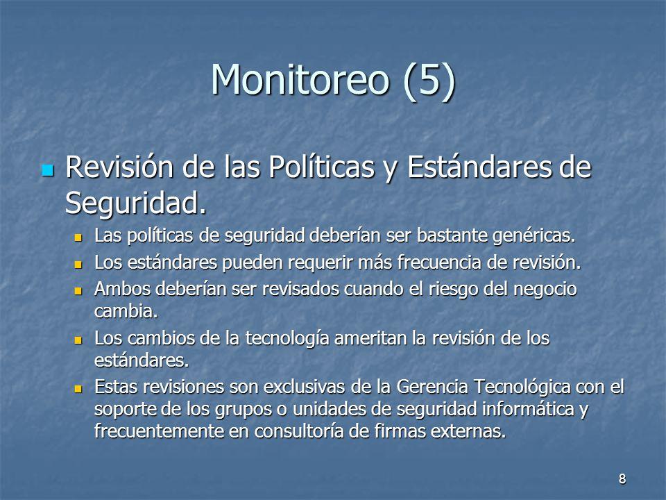 Monitoreo (5) Revisión de las Políticas y Estándares de Seguridad.
