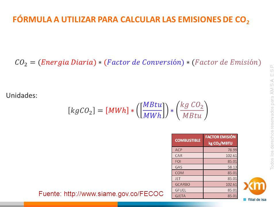 FÓRMULA A UTILIZAR PARA CALCULAR LAS EMISIONES DE CO2